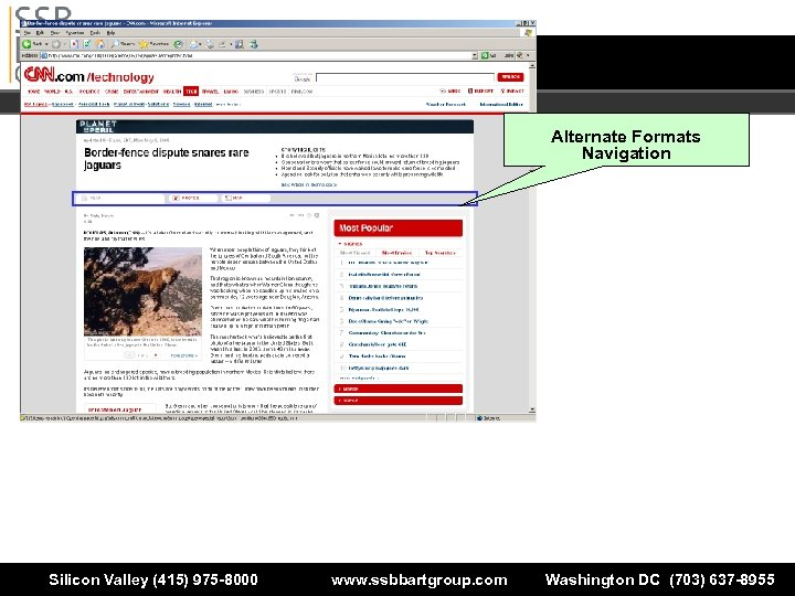 Alternate Formats Navigation Silicon Valley (415) 975 -8000 www. ssbbartgroup. com Washington DC (703)