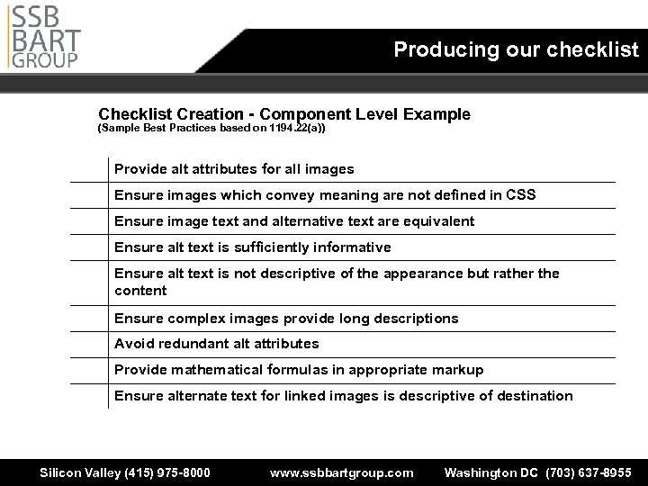 Producing our checklist Creation - Component Level Example (Sample Best Practices based on 1194.