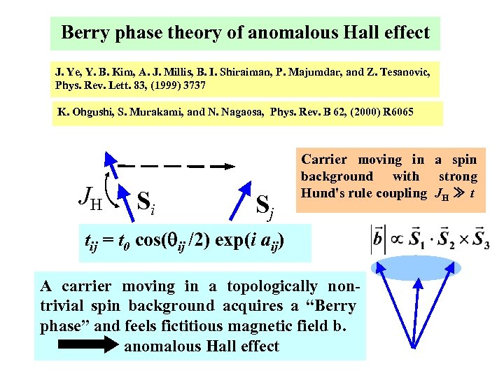 Berry phase theory of anomalous Hall effect J. Ye, Y. B. Kim, A. J.