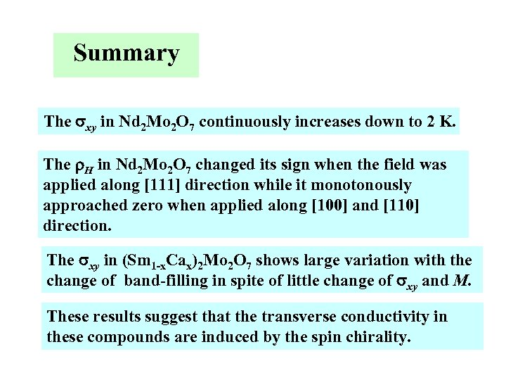 Summary The sxy in Nd 2 Mo 2 O 7 continuously increases down to