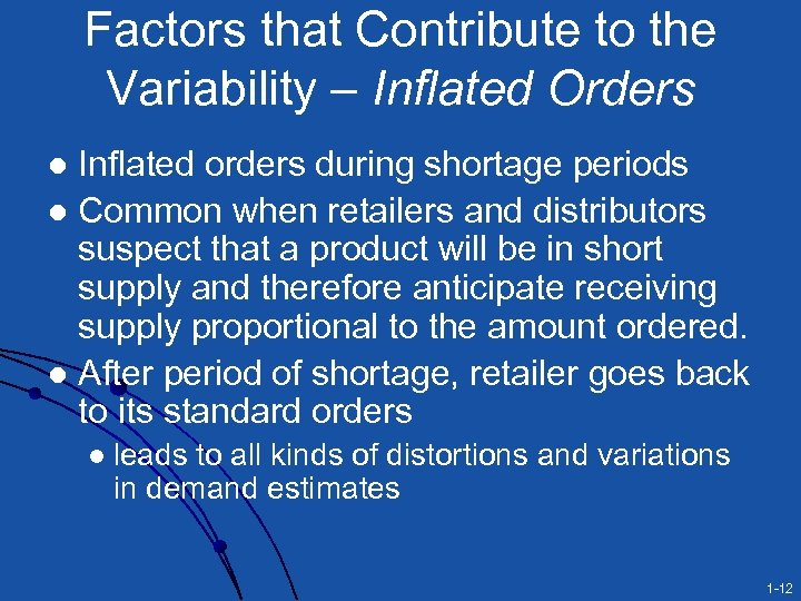 Factors that Contribute to the Variability – Inflated Orders Inflated orders during shortage periods