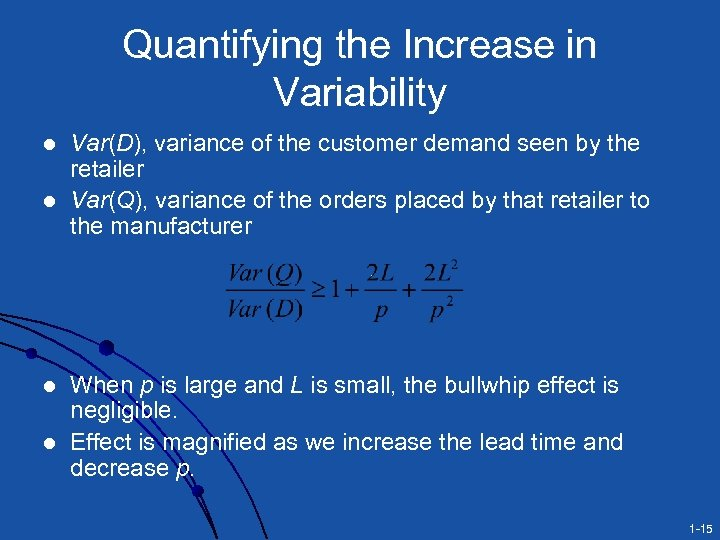 Quantifying the Increase in Variability l l Var(D), variance of the customer demand seen