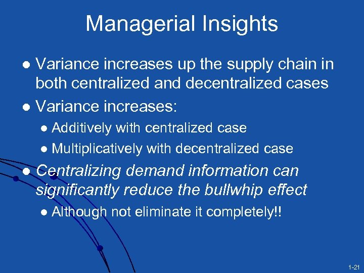 Managerial Insights Variance increases up the supply chain in both centralized and decentralized cases