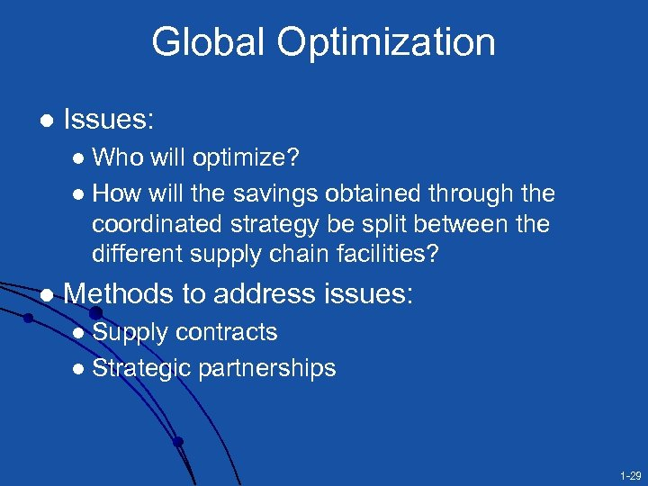 Global Optimization l Issues: Who will optimize? l How will the savings obtained through