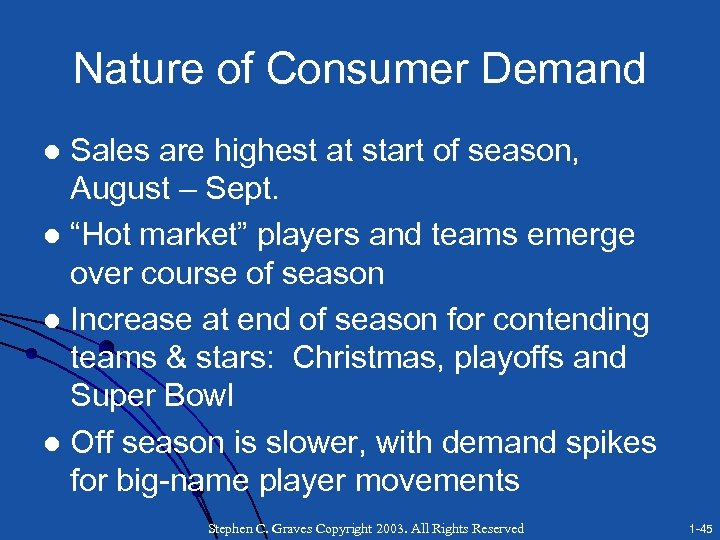 Nature of Consumer Demand Sales are highest at start of season, August – Sept.