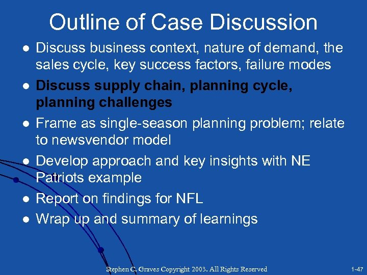 Outline of Case Discussion l l l Discuss business context, nature of demand, the