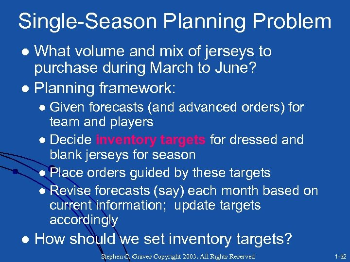 Single-Season Planning Problem What volume and mix of jerseys to purchase during March to