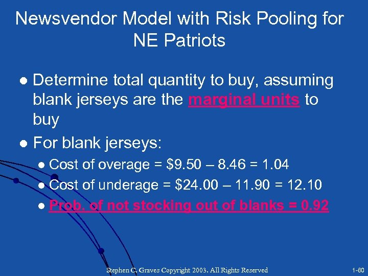 Newsvendor Model with Risk Pooling for NE Patriots Determine total quantity to buy, assuming