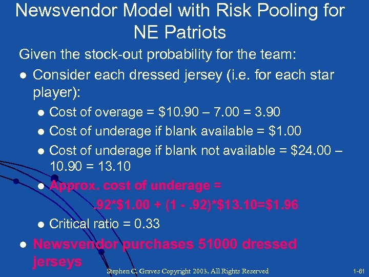Newsvendor Model with Risk Pooling for NE Patriots Given the stock-out probability for the