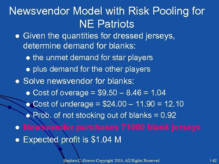 Newsvendor Model with Risk Pooling for NE Patriots l Given the quantities for dressed