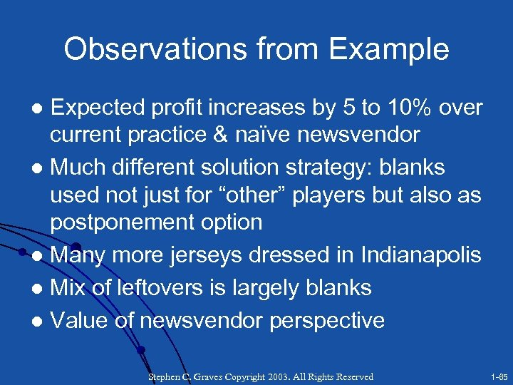 Observations from Example Expected profit increases by 5 to 10% over current practice &