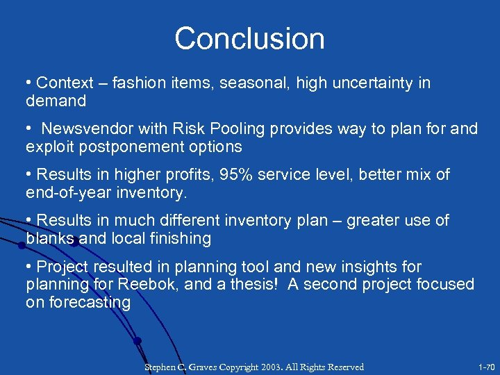 Conclusion • Context – fashion items, seasonal, high uncertainty in demand • Newsvendor with