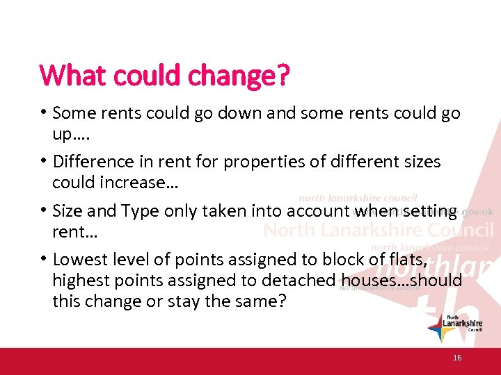 What could change? • Some rents could go down and some rents could go