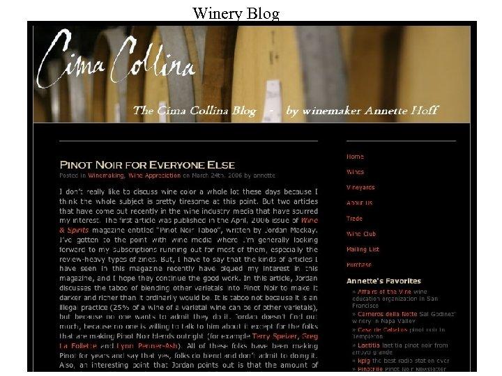 Winery Blog