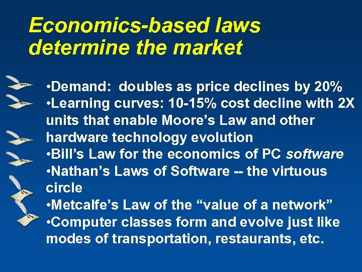 Economics-based laws determine the market • Demand: doubles as price declines by 20% •
