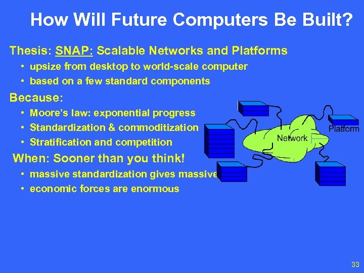 How Will Future Computers Be Built? Thesis: SNAP: Scalable Networks and Platforms • upsize