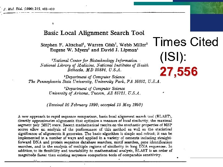 BLAST Times Cited (ISI): 27, 556 10