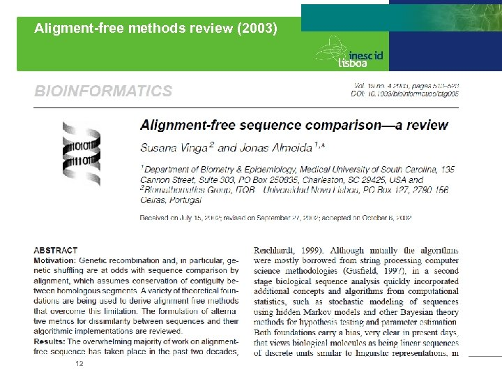 Aligment-free methods review (2003) 12