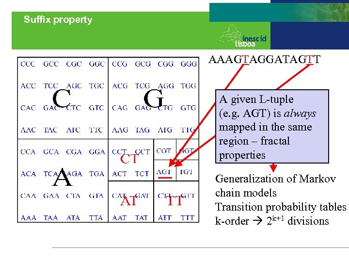 Suffix property AAAGTAGGATAGTT A given L-tuple (e. g. AGT) is always mapped in the