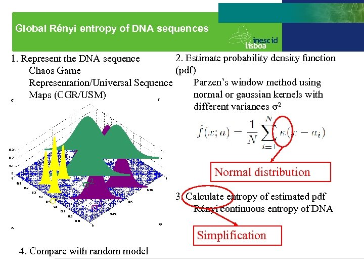 Global Rényi entropy of DNA sequences 2. Estimate probability density function 1. Represent the