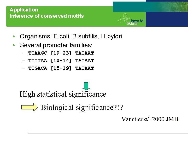 Application Inference of conserved motifs • Organisms: E. coli, B. subtilis, H. pylori •