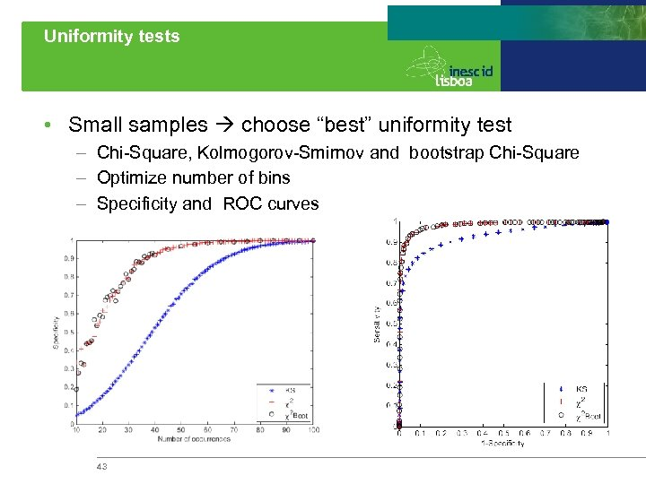 "Uniformity tests • Small samples choose ""best"" uniformity test – Chi-Square, Kolmogorov-Smirnov and bootstrap"