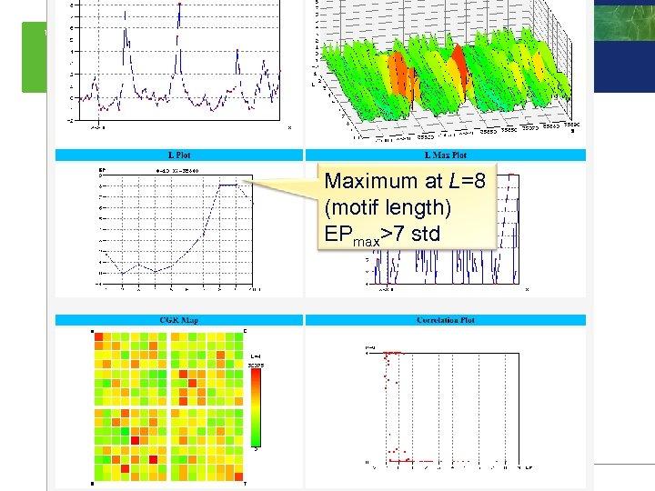 Whole genome case-studies Maximum at L=8 (motif length) EPmax>7 std 50