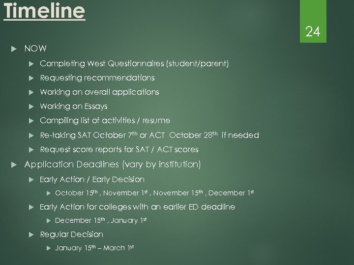 Timeline 24 NOW Requesting recommendations Working on overall applications Working on Essays Compiling list