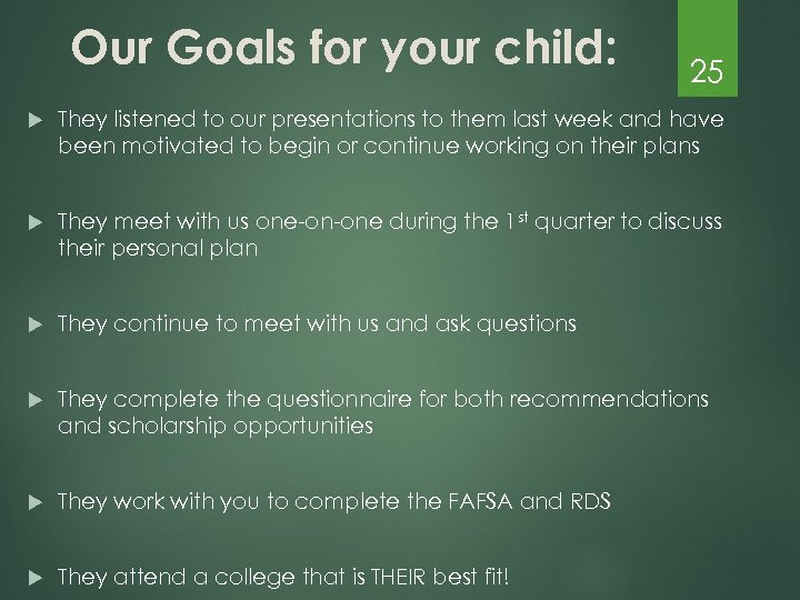 Our Goals for your child: 25 They listened to our presentations to them last