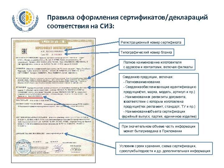 Правила оформления сертификатов/деклараций соответствия на СИЗ: Регистрационный номер сертификата Типографический номер бланка Полное