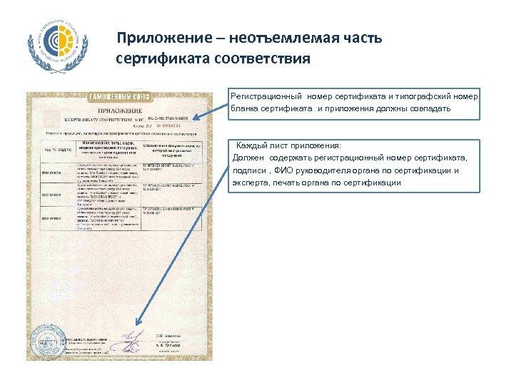 Приложение – неотъемлемая часть сертификата соответствия Регистрационный номер сертификата и типографский номер бланка сертификата