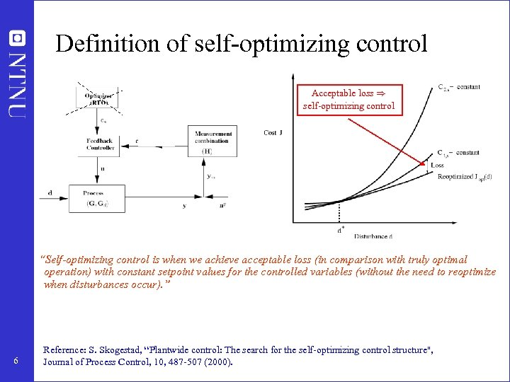"""Definition of self-optimizing control Acceptable loss ) self-optimizing control """"Self-optimizing control is when we"""