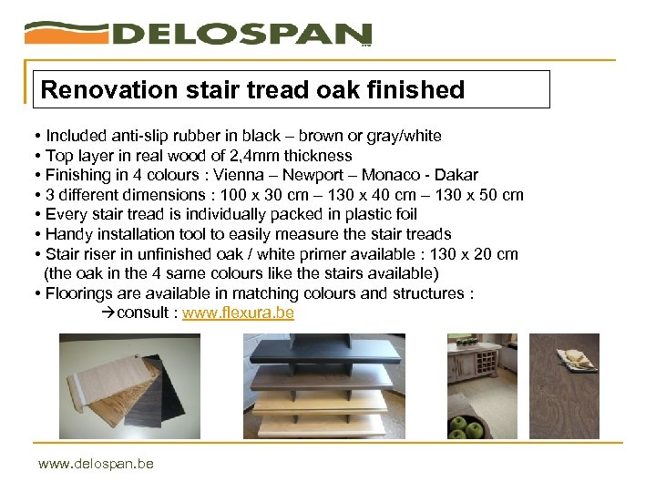 Renovation stair tread oak finished • Included anti-slip rubber in black – brown or