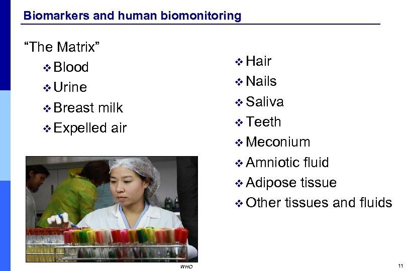 "Biomarkers and human biomonitoring ""The Matrix"" v Blood v Urine v Breast milk v"
