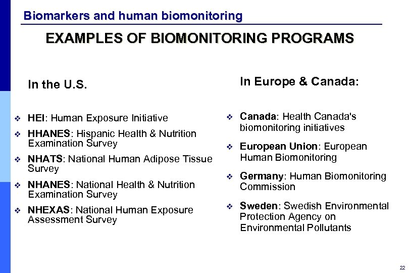 Biomarkers and human biomonitoring EXAMPLES OF BIOMONITORING PROGRAMS In Europe & Canada: In the