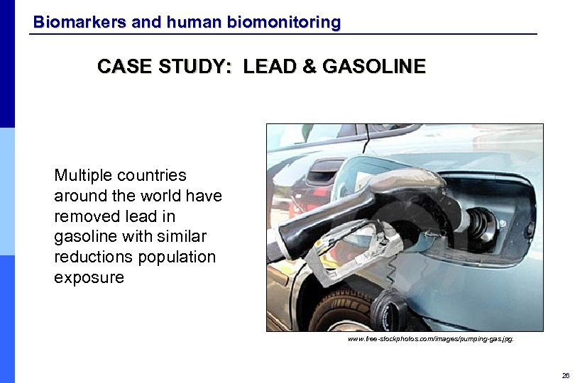 Biomarkers and human biomonitoring CASE STUDY: LEAD & GASOLINE Multiple countries around the world