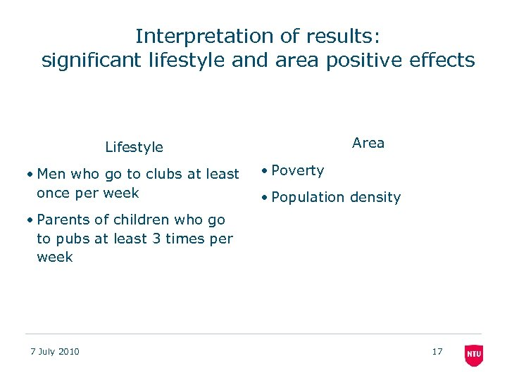 Interpretation of results: significant lifestyle and area positive effects Area Lifestyle • Men who