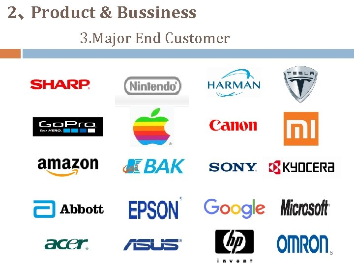 2、 Product & Bussiness 3. Major End Customer 8