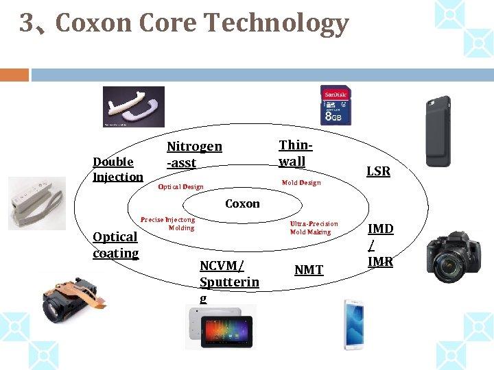 3、 Coxon Core Technology Double Injection Thinwall Nitrogen -asst LSR Mold Design Optical Design
