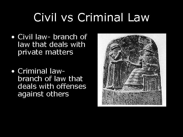 Civil vs Criminal Law • Civil law- branch of law that deals with private