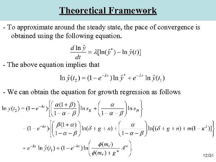 Theoretical Framework - To approximate around the steady state, the pace of convergence is