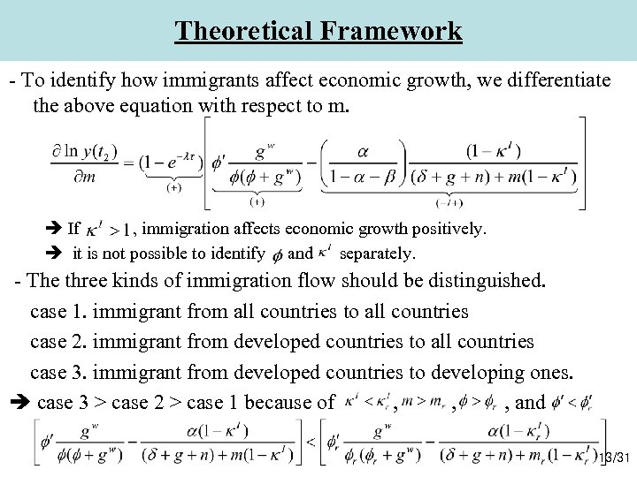 Theoretical Framework - To identify how immigrants affect economic growth, we differentiate the above