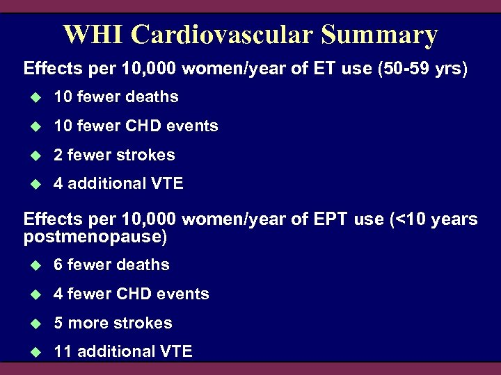 WHI Cardiovascular Summary Effects per 10, 000 women/year of ET use (50 -59 yrs)