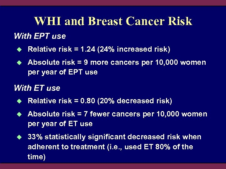 WHI and Breast Cancer Risk With EPT use u Relative risk = 1. 24