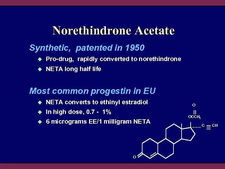 Norethindrone Acetate Synthetic, patented in 1950 u Pro-drug, rapidly converted to norethindrone u NETA