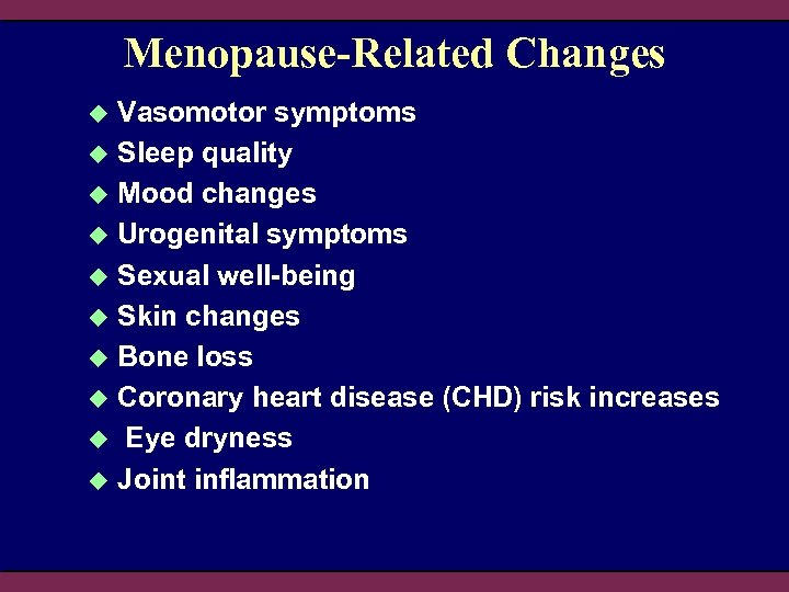 Menopause-Related Changes Vasomotor symptoms u Sleep quality u Mood changes u Urogenital symptoms u