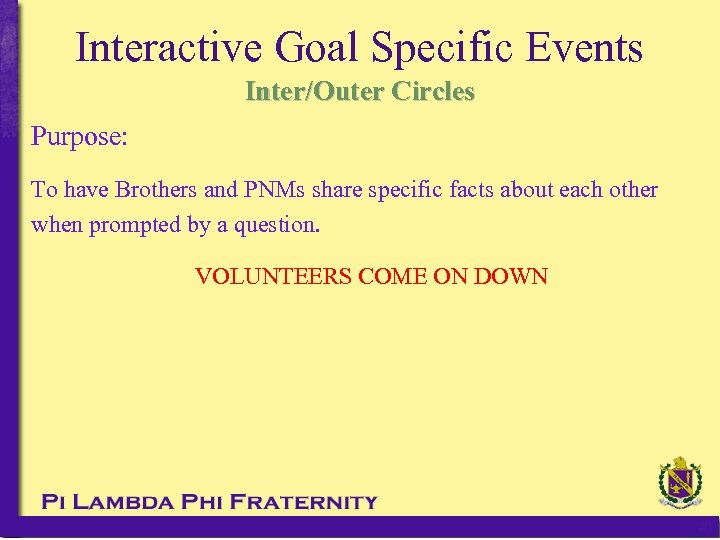 Interactive Goal Specific Events Inter/Outer Circles Purpose: To have Brothers and PNMs share specific