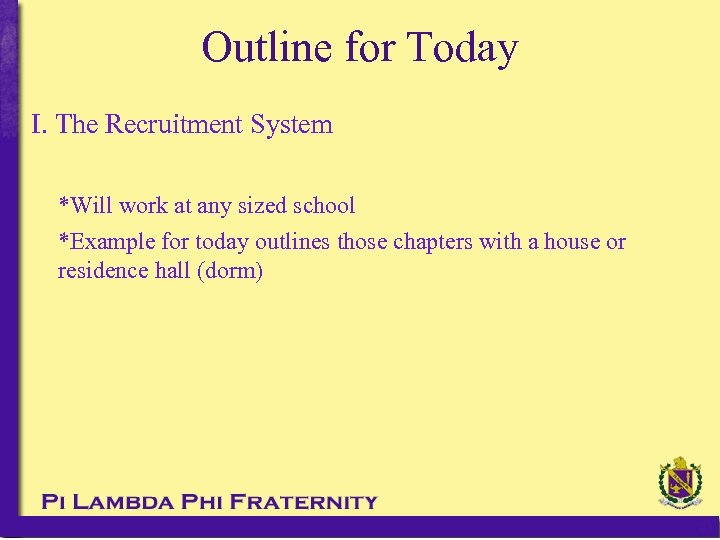 Outline for Today I. The Recruitment System *Will work at any sized school *Example