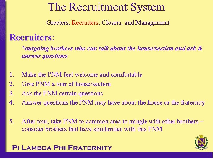 The Recruitment System Greeters, Recruiters, Closers, and Management Recruiters: Recruiters *outgoing brothers who can