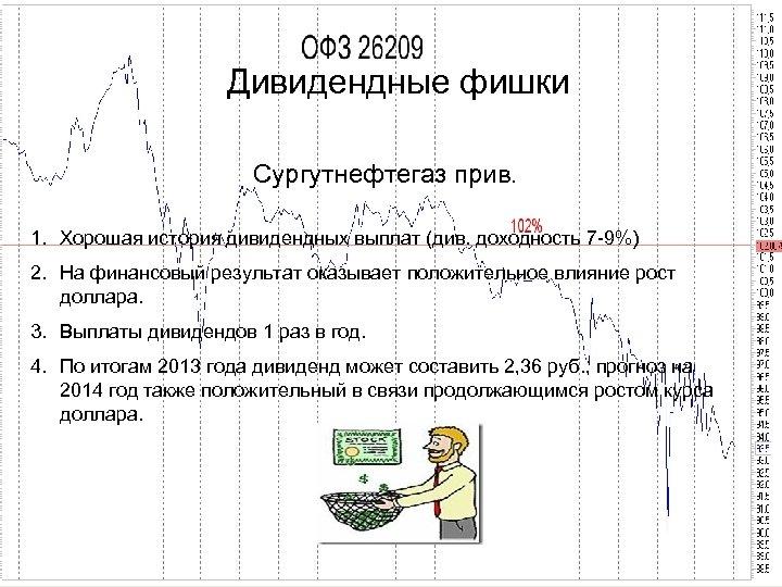 Дивидендные фишки Сургутнефтегаз прив. 1. Хорошая история дивидендных выплат (див. доходность 7 -9%) 2.